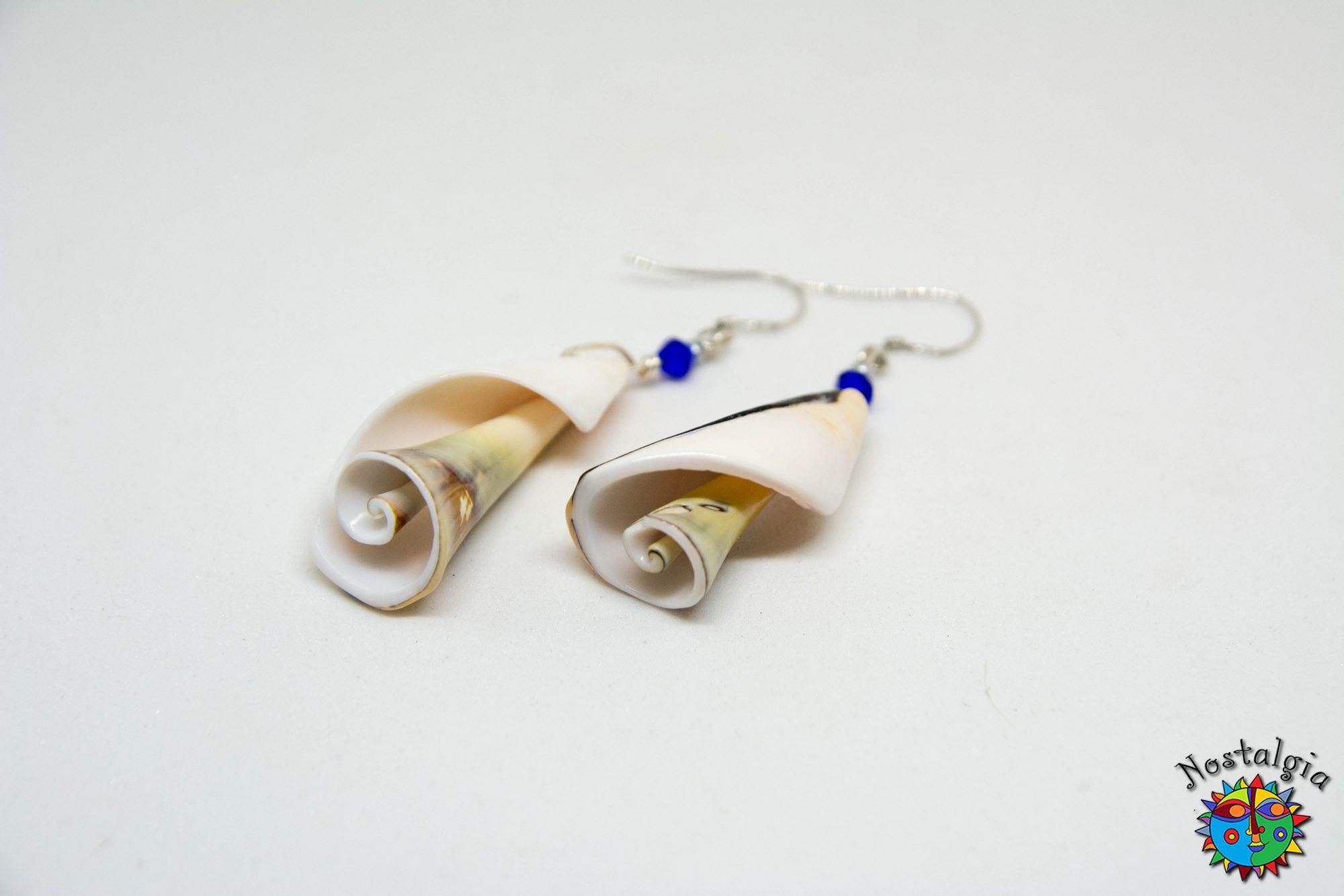 9f66b4a4d2 Σκουλαρίκια με κοχύλια Μπλε - Χειροποίητα είδηNostgalgia Handmade