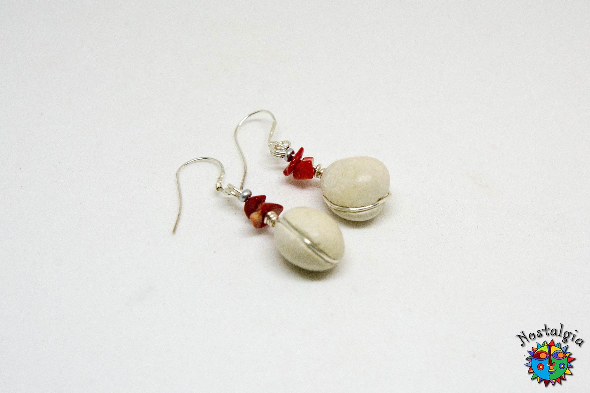 Σκουλαρίκια με βότσαλα – Κόκκινα