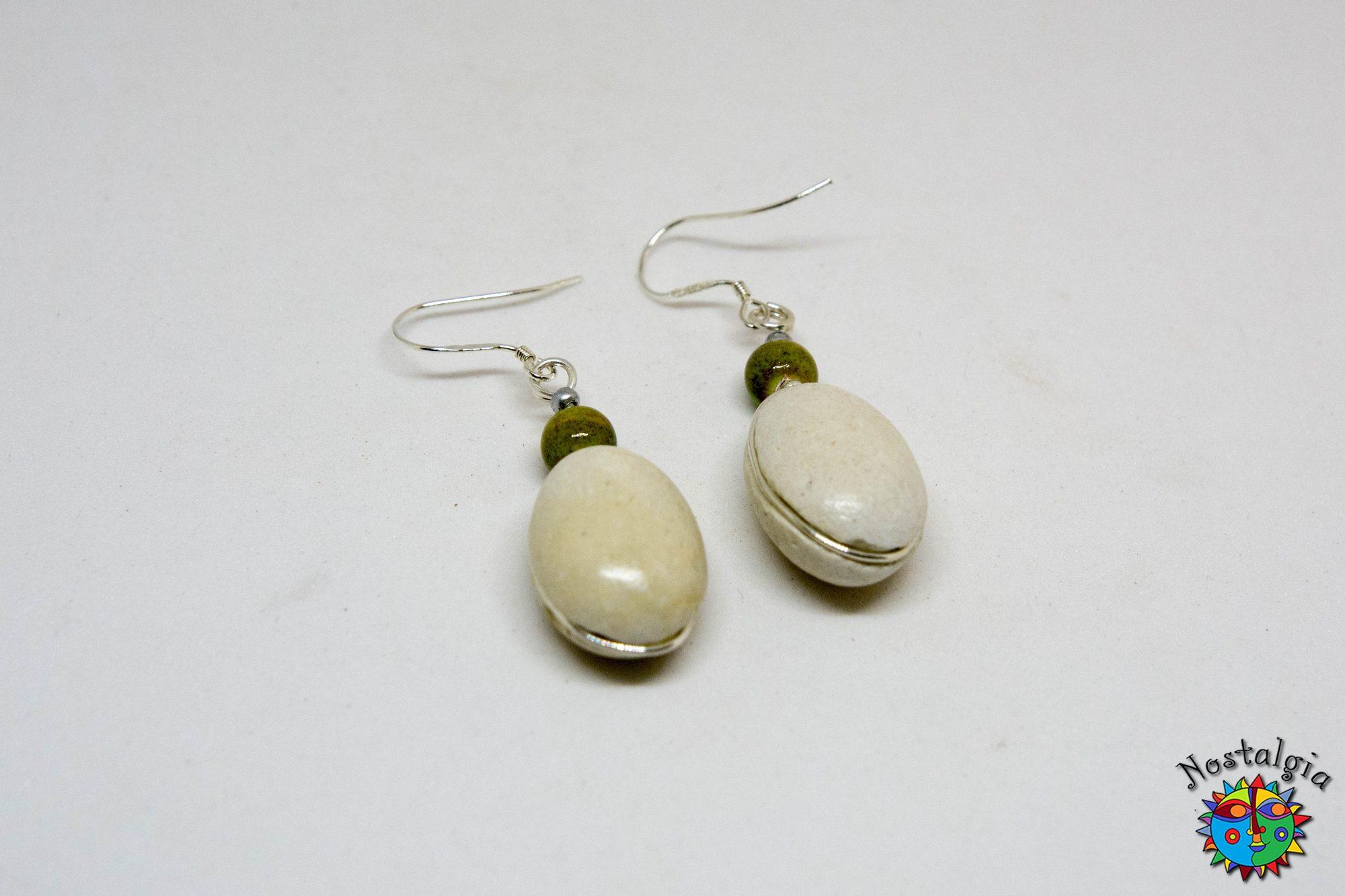 Σκουλαρίκια με βότσαλα – Πράσινα