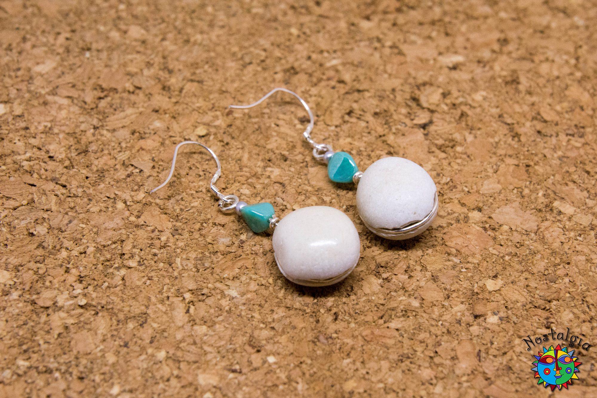 Σκουλαρίκια με βότσαλα Γαλάζια